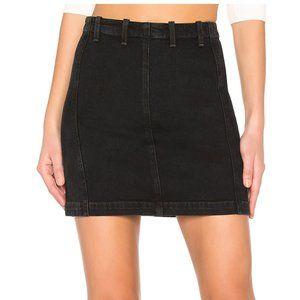 Agolde Siouxise Zip Skirt Black Denim 28 Stretch